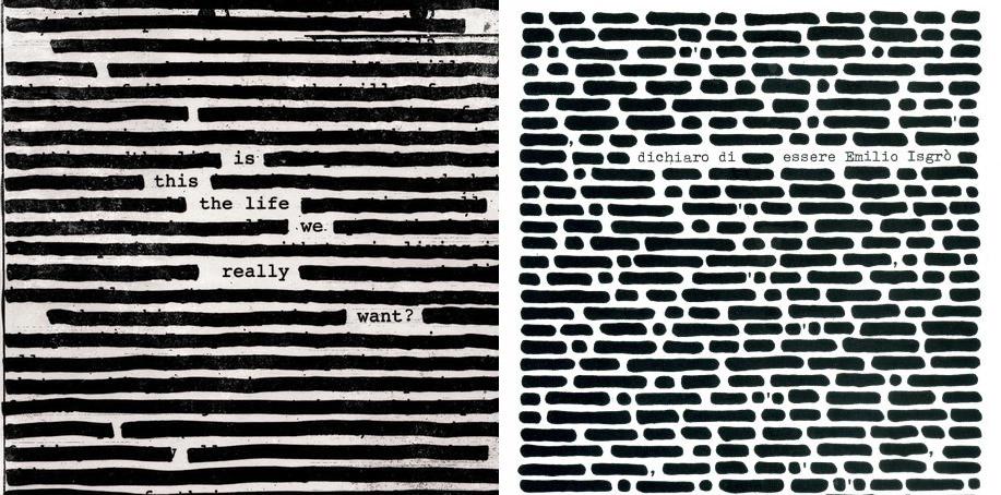 il confronto della copertina con l'opera di isgrò